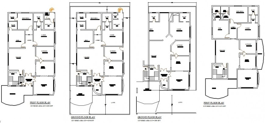 Working plan of the residential house detail layout 2d view dwg file