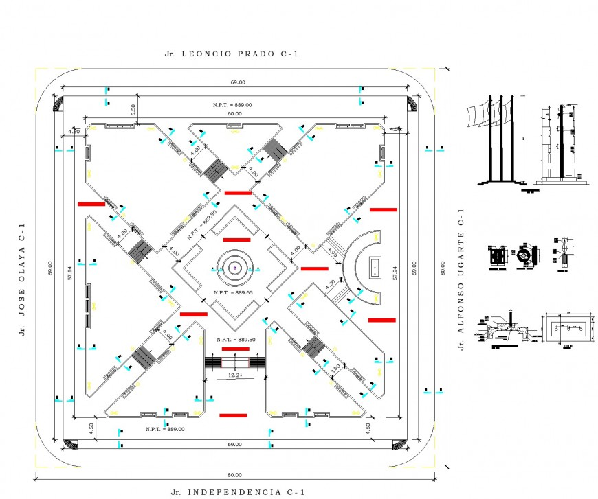 Working urban plaza or square plan detail dwg file