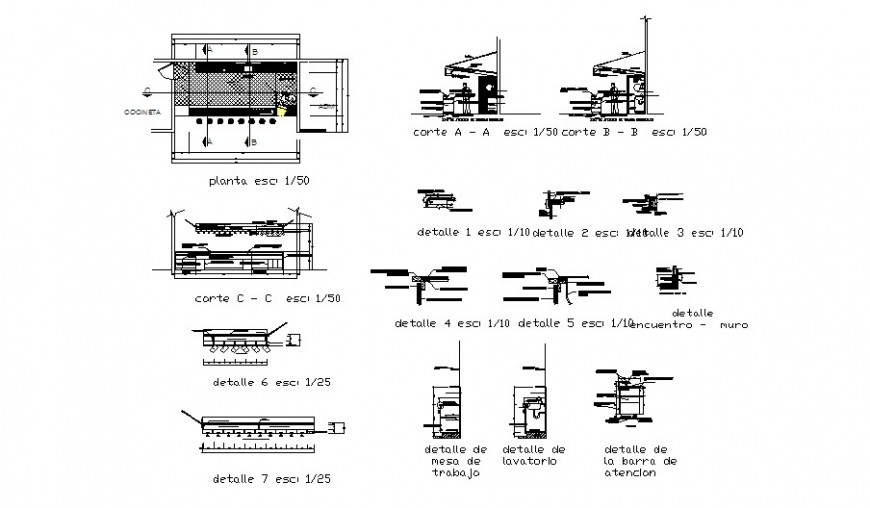 Workstation detail plan and sectional drawing in autocad