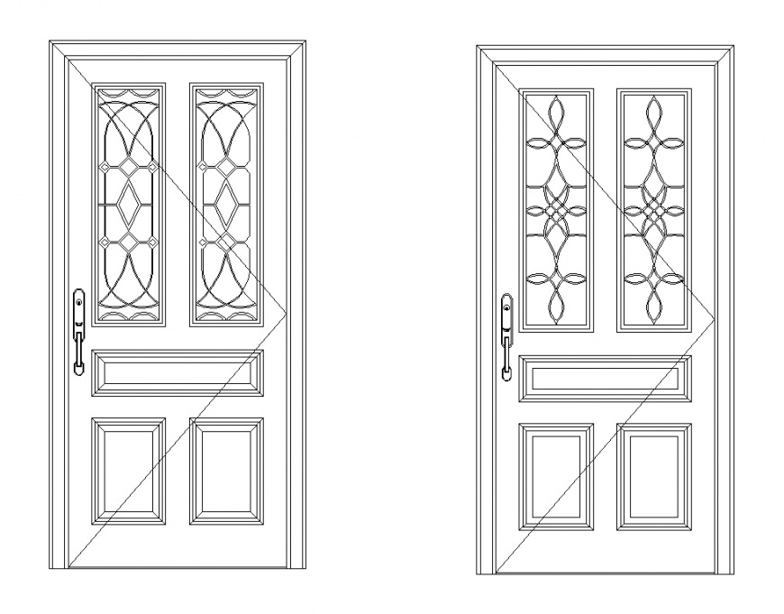 Wrought iron door CAD blocks elevation 2d view layout autocad file