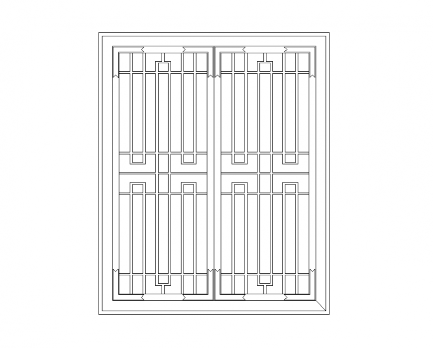 Wrought iron window detail elevation 2d view layout autocad file