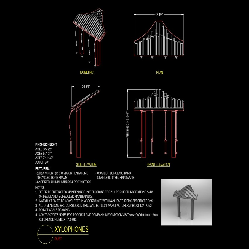 Xylophones plan and elevation detail dwg file