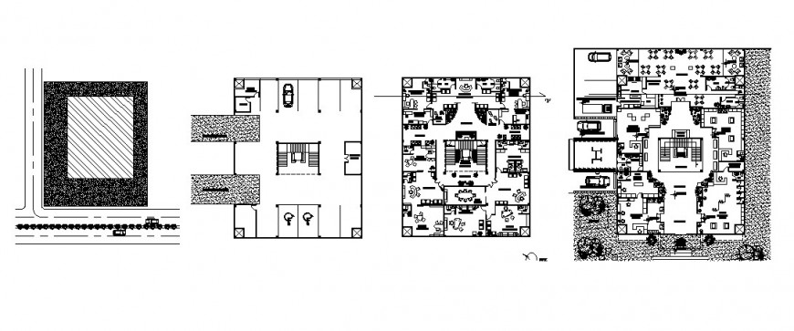 Zonal office floor plan distribution layout and auto-cad drawing details dwg file