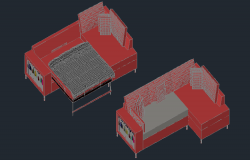 3D drawing of sofa cum bed in AutoCAD