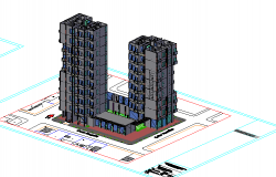 3d top view design of high rise housing and commercial building dwg file