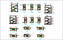 Building elevation and section detailing  and stair detail dwg file