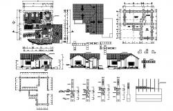 Drawing of Bungalow 8.93mtr x 9.07mtr with section and elevation in dwg file