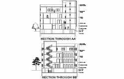 Education center section plan detail dwg file