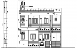 Elevation of the bungalow in dwg file