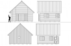 Elevation wooden house plan layout file