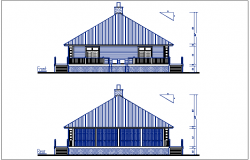 House plan Front elevation & back elevation view, bungalow dwg file