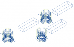 Kaskad_wall washer hardware 3d wire frame view dwg file