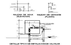Plumbing design plan and elevation detail dwg file