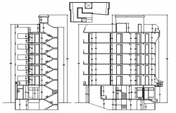 Sectional elevation of house in dwg file