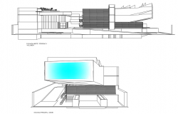 Shopping mall front elevation detail and back elevation detail dwg file