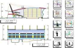 Swimming pool and sports center elevation, section and plan details dwg