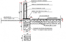 Wall section view detail dwg file
