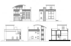 . House Plan elevation layout plan