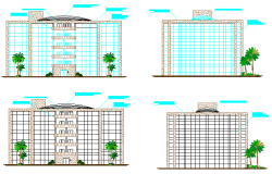 Elevation of high rise building design drawing