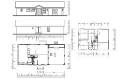 1 BHK Bungalow Plan and Elevation CAD drawing