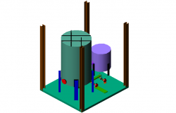 10000 GELS capacity tank steel structural 3d view with its assembly dwg file