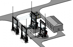 110 kv transformer 3 D plan layout file