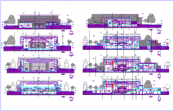 1200 seat average multi functional pavilion with different section view dwg file