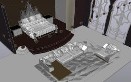 3D Double Bed With Furniture