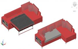 Sofa With Double Bed Detail