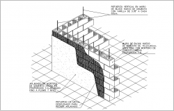 15x20x40 size block for cement wall detail isometric view dwg file