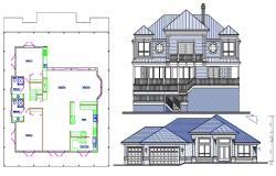 2 BHK Residential Bungalow Elevation and Layout Plan
