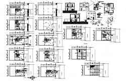 2 Storey commerical building 12.75mtr x 7.75mtr with foundation details in autocad