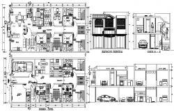 2 storey bungalow design in AutoCAD