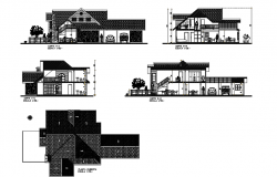 2 storey bungalow design with elevation and section in dwg file