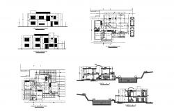 2 storey bungalow with elevation and section in dwg file