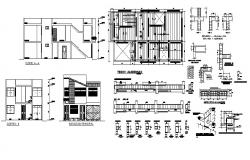 2 storey house 15.00mtr x 8.00mtr with section and elevation in dwg file