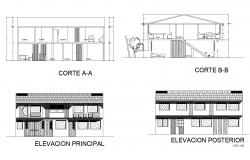 2 storey house design with elevation and section in AutoCAD