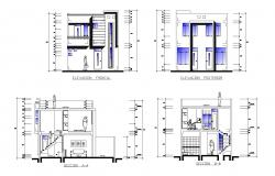 2 storey house design with elevation and section in dwg file
