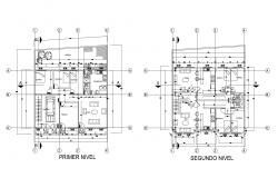 2 storey house plan 12.32mtr x 13.41mtr with details in AutoCAD