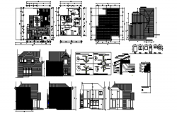 2 storey house with different elevation details in dwg file