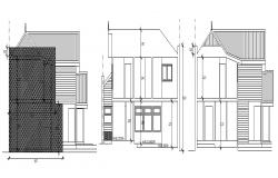 2 storey house with elevation details in dwg file