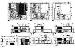 2 storey house with furniture details in dwg file