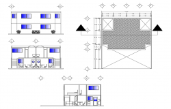 2 storey house with roof plan in dwg file