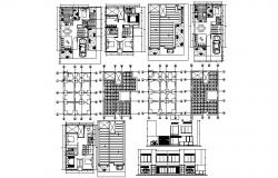 2 storey residential house 8.50mtr x 10.50mtr with detail dimension in dwg file