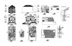 2 storey residential house with elevation and section in dwg file
