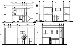 2 storey single family design with elevation and section in dwg file