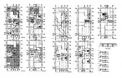 Two storey house designs in AutoCAD file