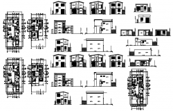 2 storey single family house with different elevation and section in dwg file