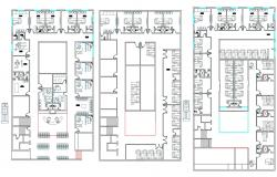 2D CAD Drawing Different Floor Plan Of Hospital With Furniture Layout AutoCAD File