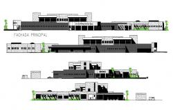 2D CAD Drawing Huge Four Side Elevation Of General Hospital AutoCAD File